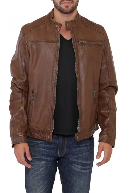 Blouson cuir Homme Marron Tan Oakwood