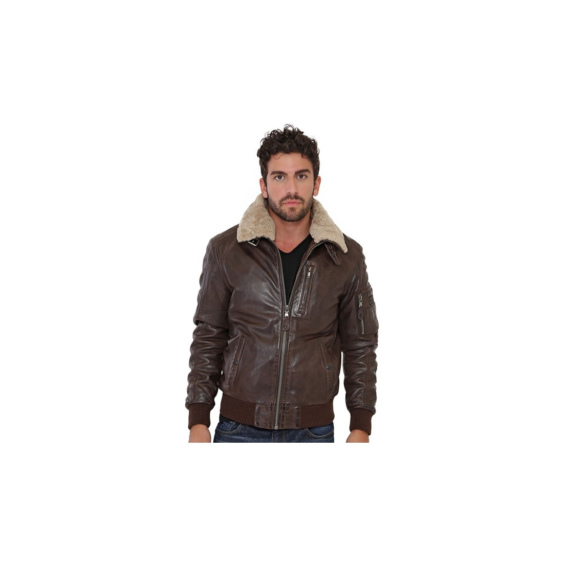 blouson squad de redskins en cuir homme marron. Black Bedroom Furniture Sets. Home Design Ideas