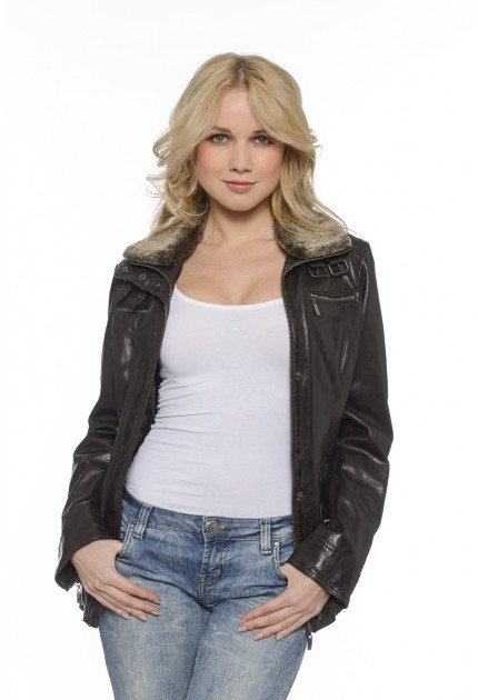 Manteau Lady de Daytona en cuir femme noir