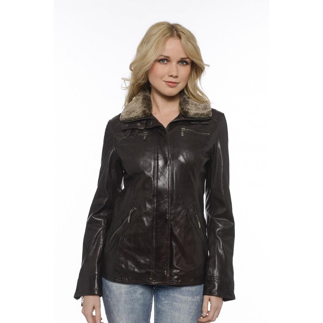 manteau cuir daytona lady marron pour femme. Black Bedroom Furniture Sets. Home Design Ideas