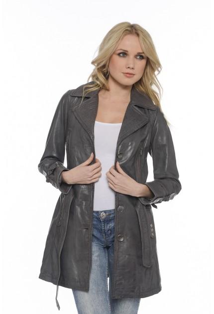 Manteau Apolina de Giovanni en cuir femme noir