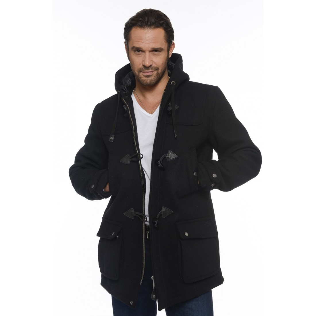 blouson duffle coat schott warren noir pour homme. Black Bedroom Furniture Sets. Home Design Ideas
