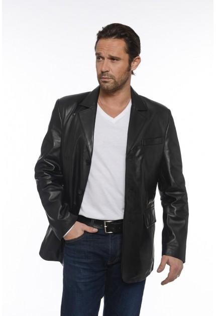 Veste H900 de Giovanni en cuir homme noir
