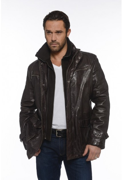 Veste Clintion de Daytona en cuir homme marron