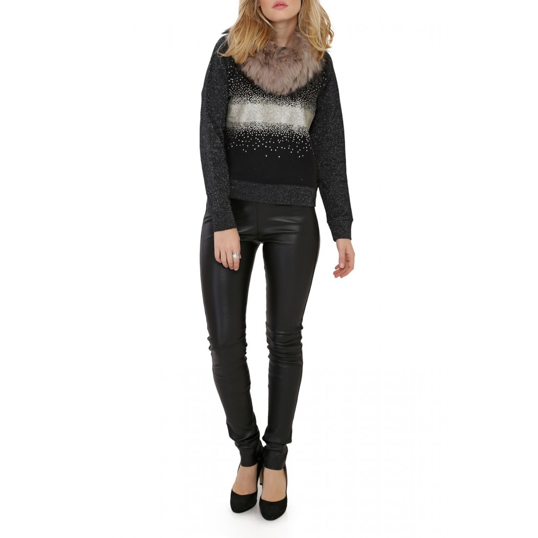 pantalon cuir stretch noir oakwood asteroid noir pour femme