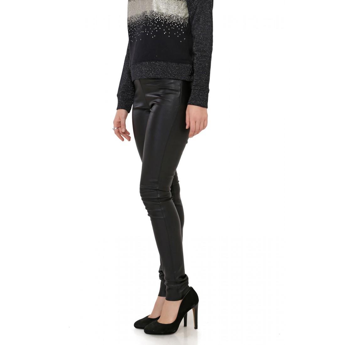 pantalon cuir stretch noir oakwood asteroid noir pour femme. Black Bedroom Furniture Sets. Home Design Ideas