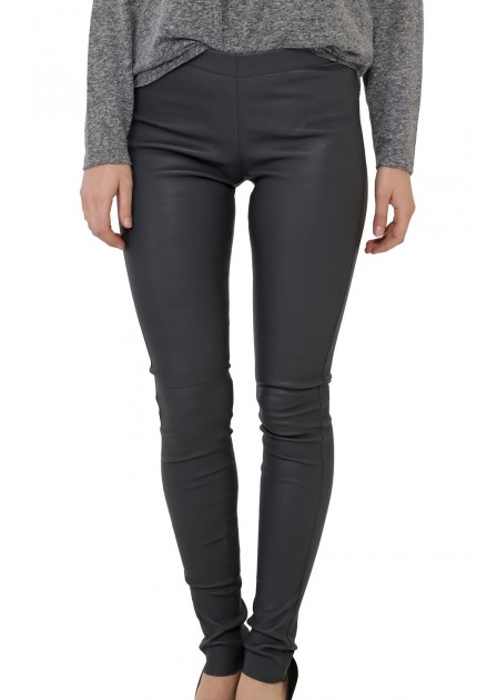 Pantalon Cuir Stretch Gris Femme Oakwood