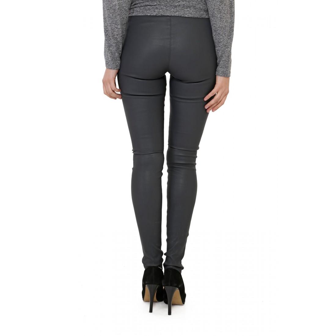 pantalon en cuir stretch gris femme oakwood. Black Bedroom Furniture Sets. Home Design Ideas