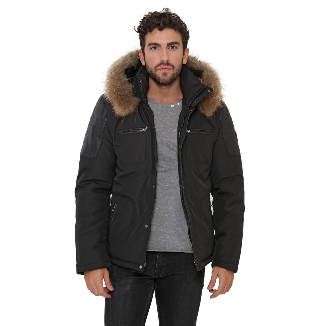 veste parka fourrure oakwood bergen pour homme. Black Bedroom Furniture Sets. Home Design Ideas