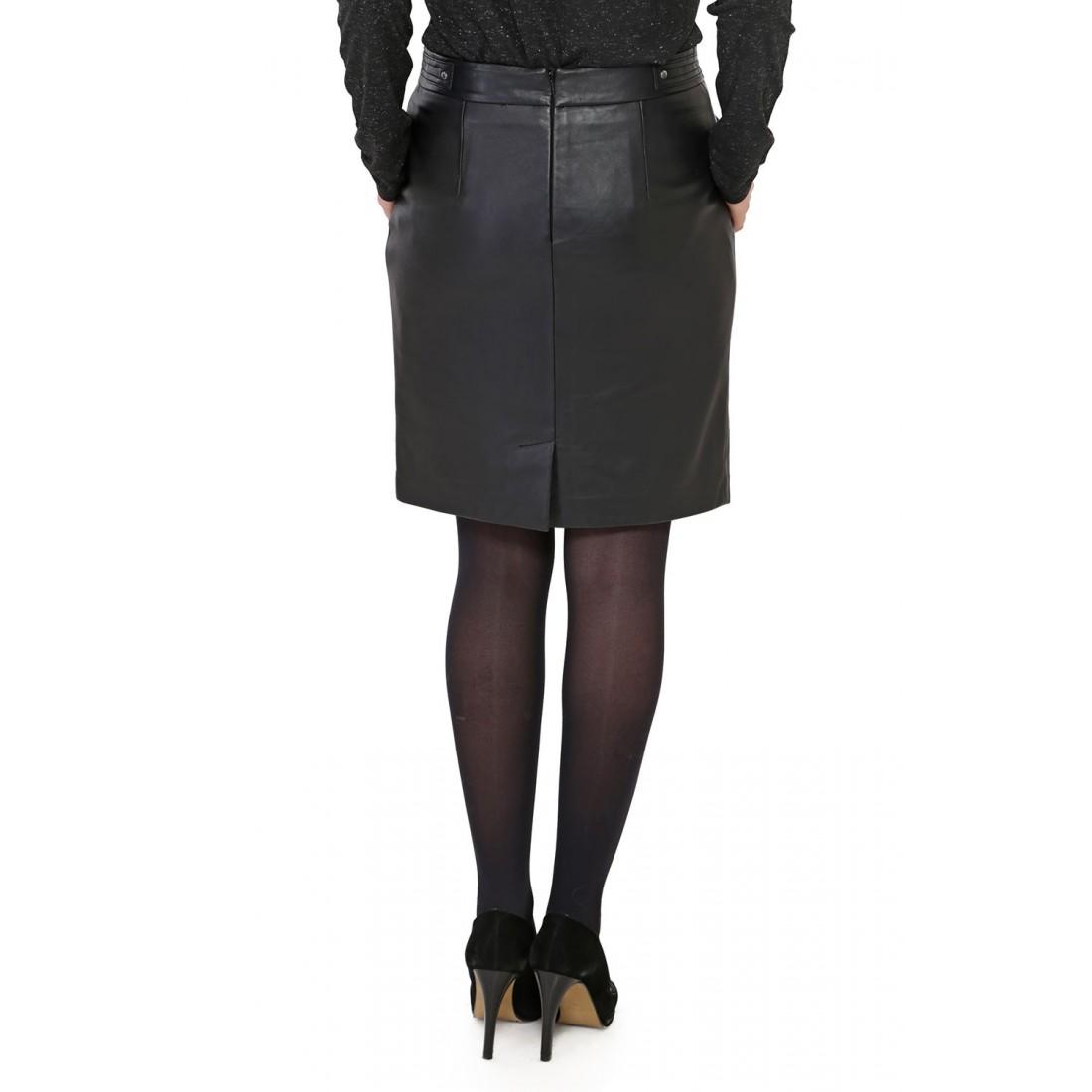jupe en cuir d 39 agneau noir pour femme oakwood. Black Bedroom Furniture Sets. Home Design Ideas