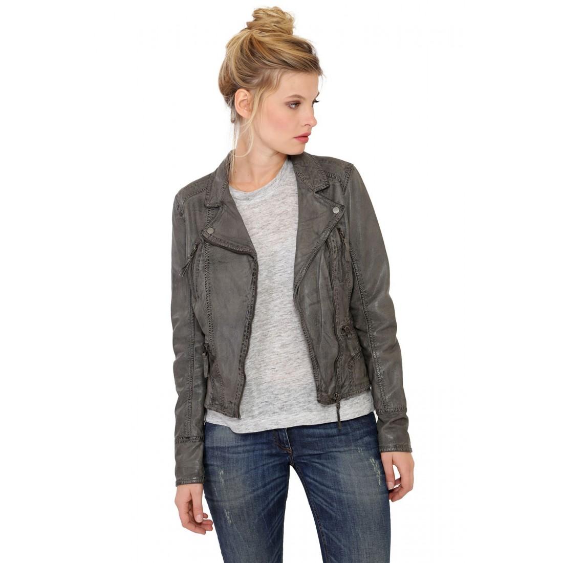 d4cb31fc763d2 Blouson perfecto en cuir Oakwood Camera gris pour Femme