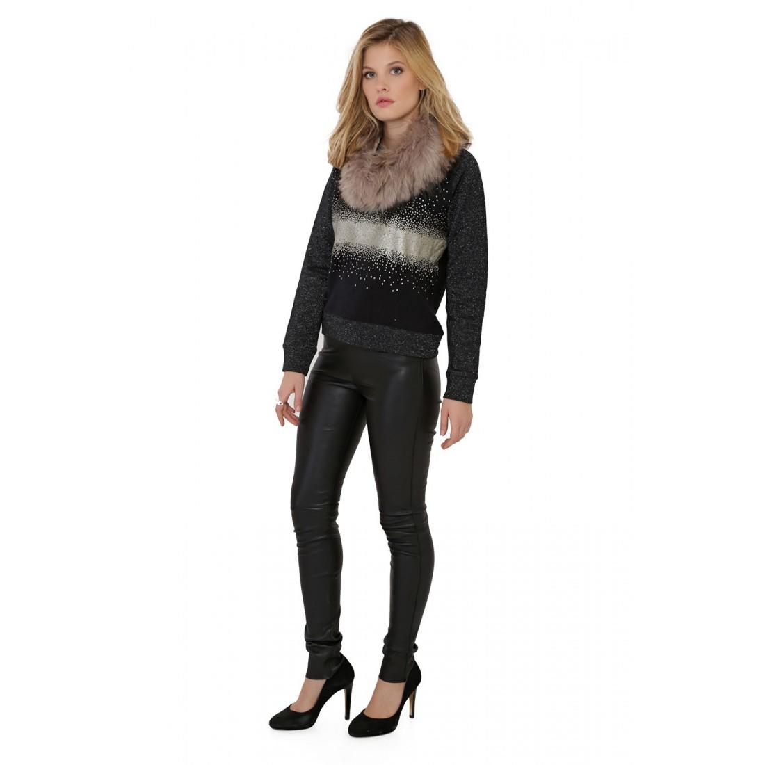 pantalon en cuir stretch oakwood pandora noir pour femme. Black Bedroom Furniture Sets. Home Design Ideas