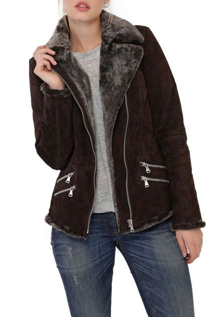 Veste Cuir Porc Velours Fourré Marron Femme Oakwood
