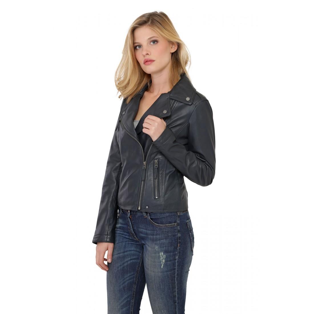 ... Blouson cuir Agneau Bleu Femme Oakwood ... 495592cd5110