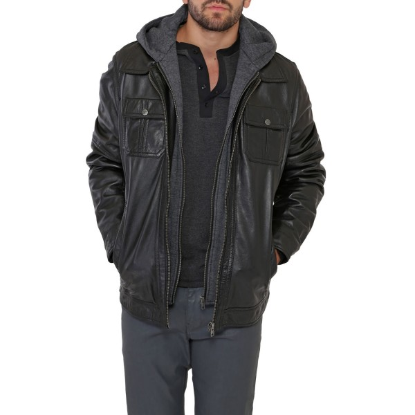 Blouson cuir Homme Noir Oakwood