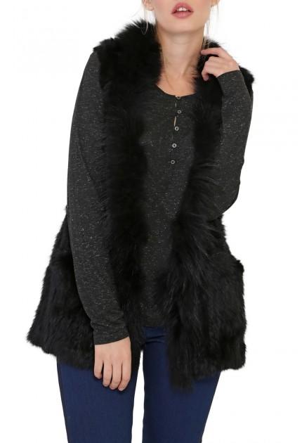 Gilet Dolphy d'Oakwood en fourrure Lapin marmotte Famme Noir
