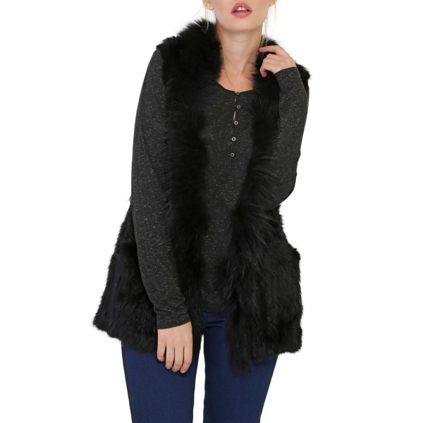 Gilet Fourrure Lapin Marmotte Noir Femme Oakwood