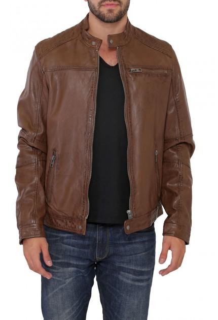 Blouson cuir Homme Marron Oakwood