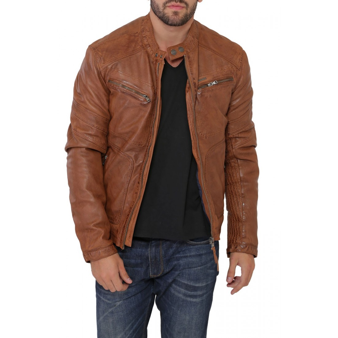 blouson en cuir ayrton calista redskins cognac pour homme. Black Bedroom Furniture Sets. Home Design Ideas