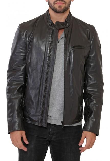 Blouson Jack Airbus de Redskins en cuir vachette Homme Noir