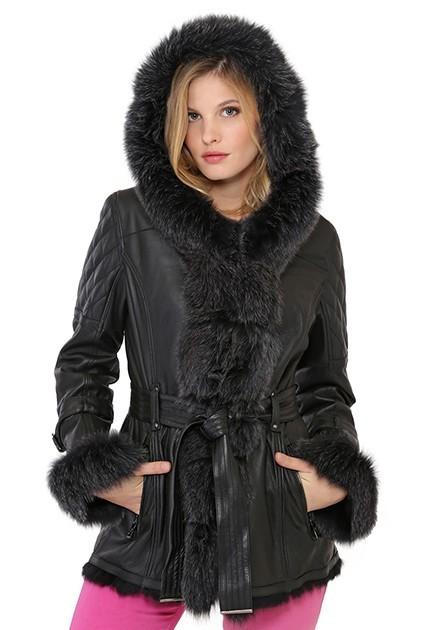 Manteau Adrianna de Giovanni en cuir et en fourrure de renard femme noir