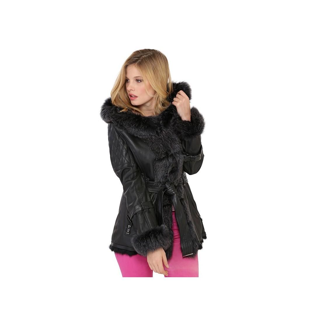 manteau giovanni adrianna en cuir et en fourrure de renard femme noir