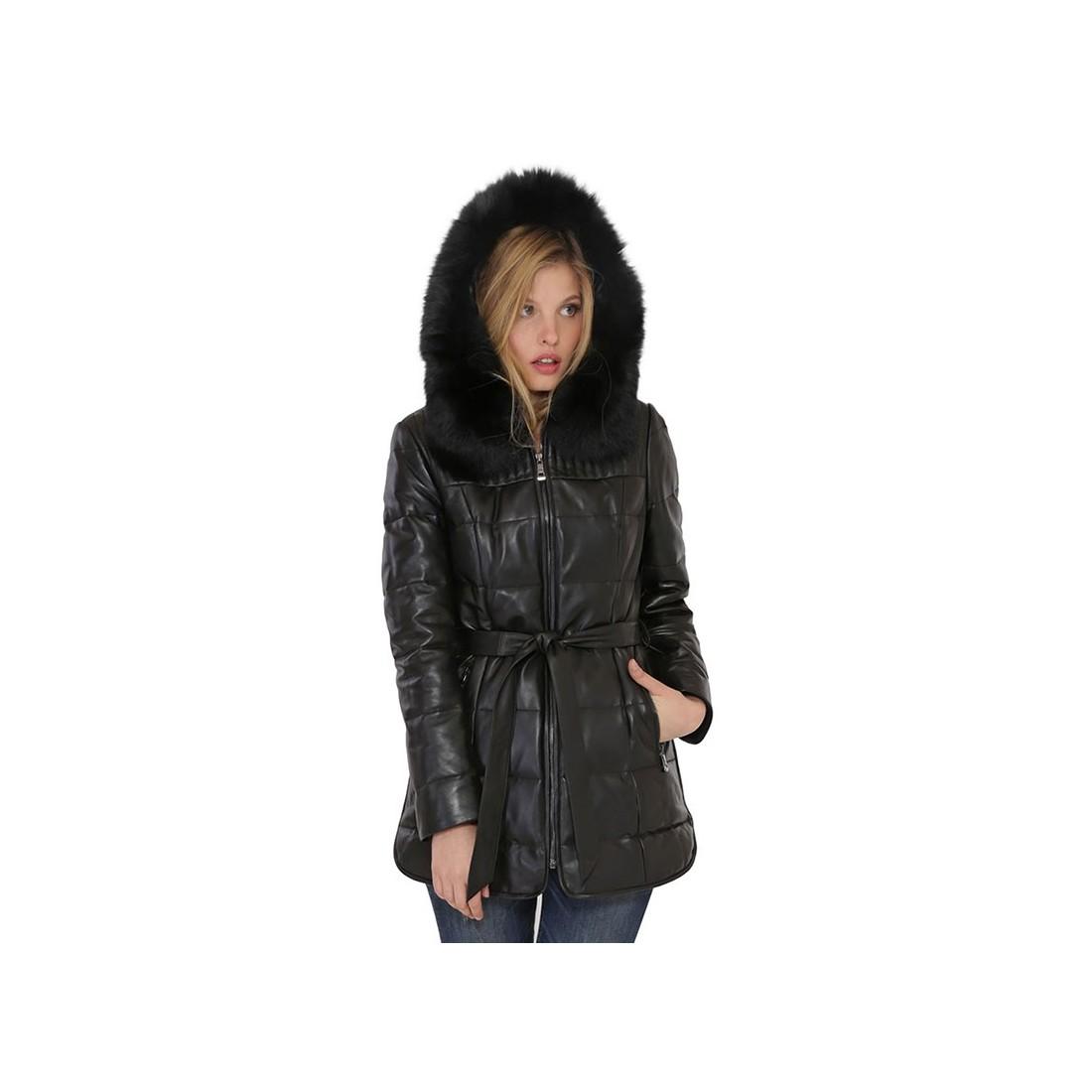 manteau marina de giovanni en cuir femme noir