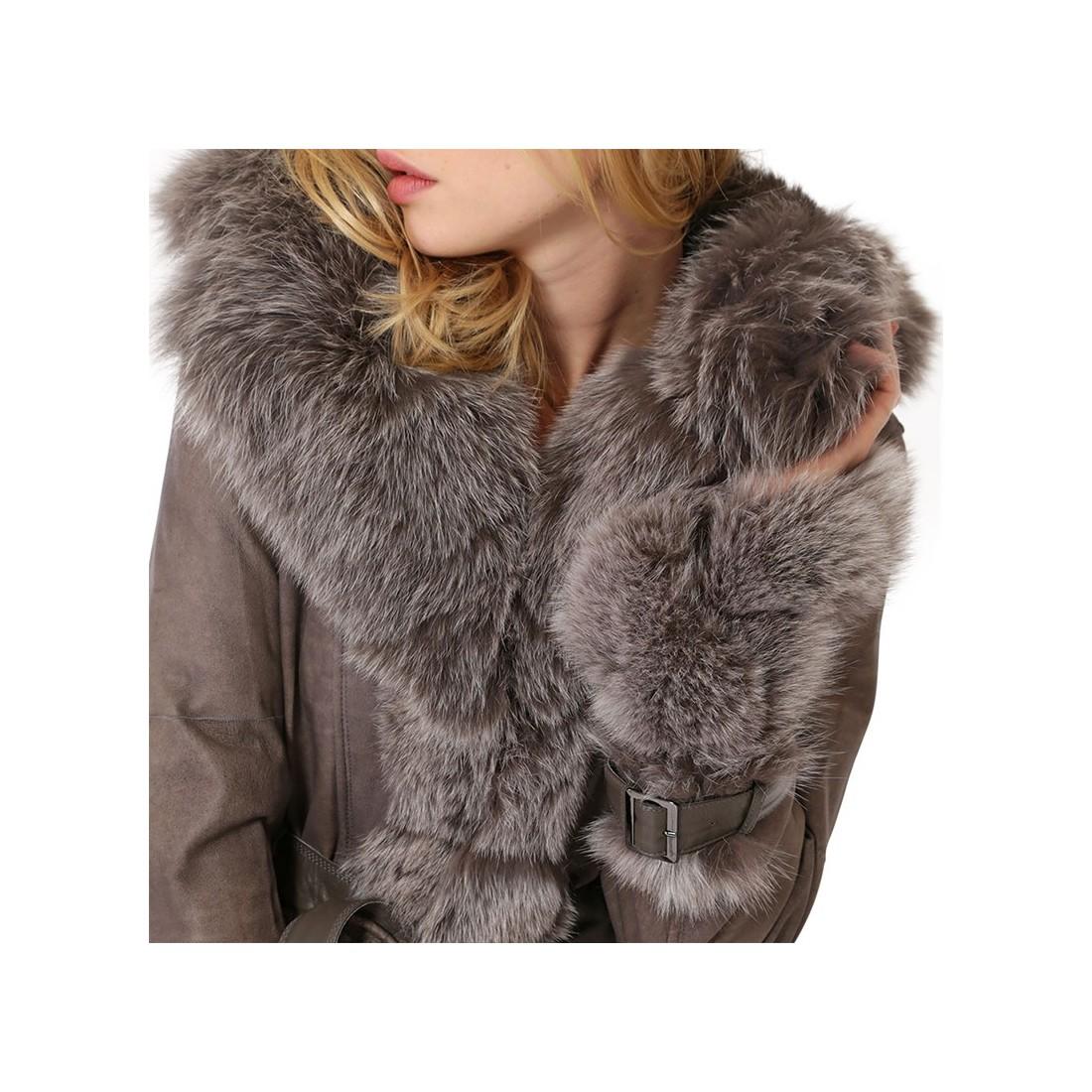manteau newty giovanni en fourrure femme taupe