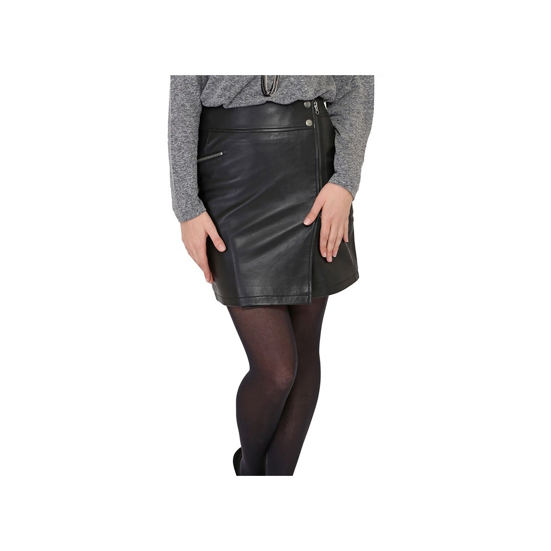 jupe giulietta de giovanni en cuir femme noir. Black Bedroom Furniture Sets. Home Design Ideas