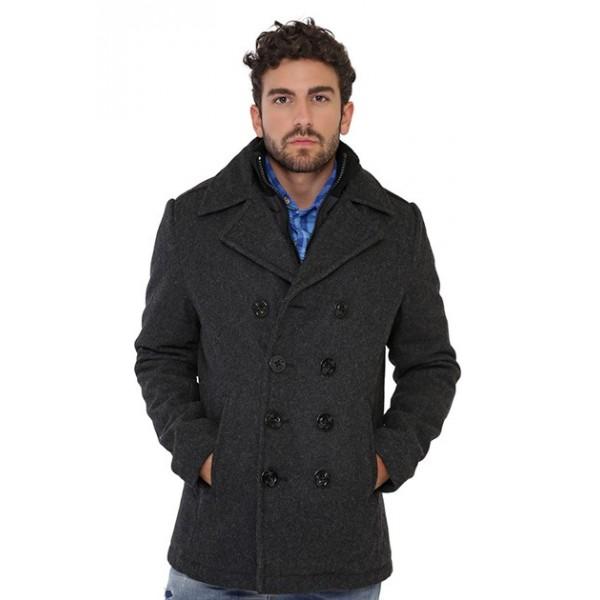 Manteau cyclone 2 de Schott en laine homme gris antracite