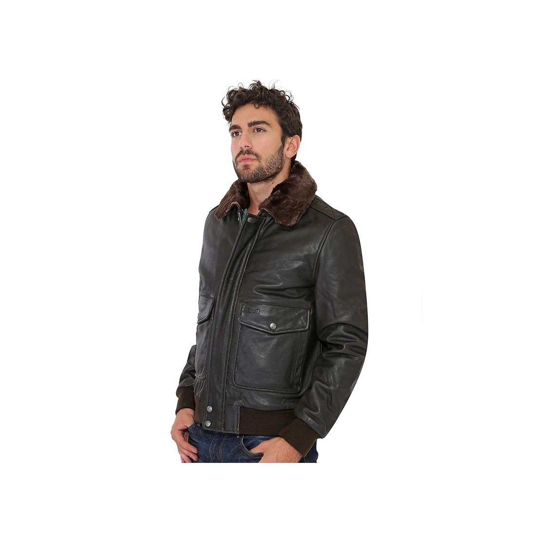 blouson lc5331x de schott en cuir homme marron. Black Bedroom Furniture Sets. Home Design Ideas