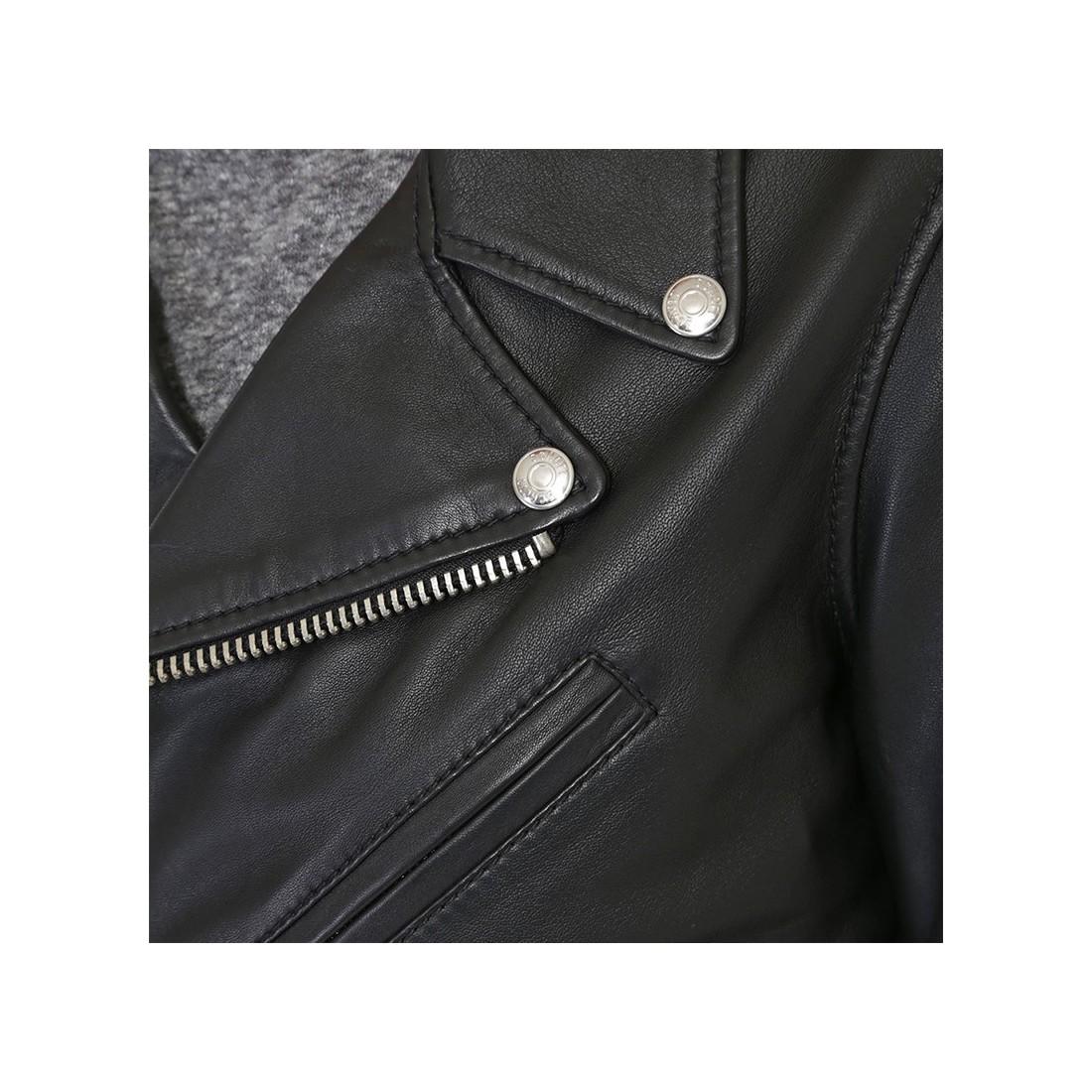 veste lcw1601d de schott en cuir femme noir. Black Bedroom Furniture Sets. Home Design Ideas