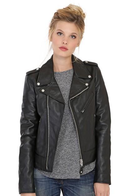 Veste LCW1601D de Schott en cuir femme noir