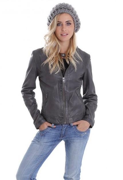 Blouson cuir femme oakwood rider gris