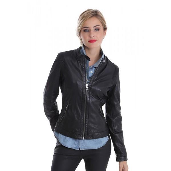 f31c6e7c532ce Blouson cuir femme Oakwood Rider 62064 noir