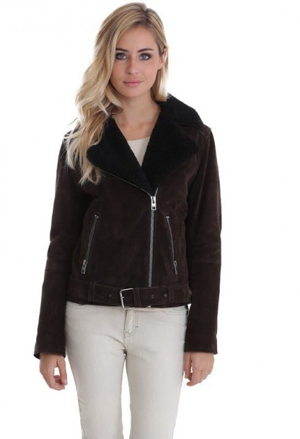 Blouson en cuir femme South d'Oakwood marron