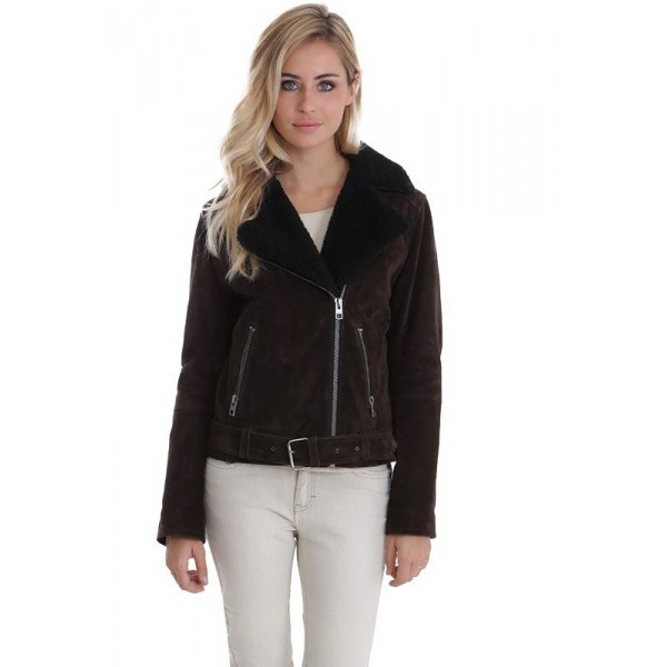 2fde11fa0d9d4 Blouson en cuir femme South d'Oakwood marron