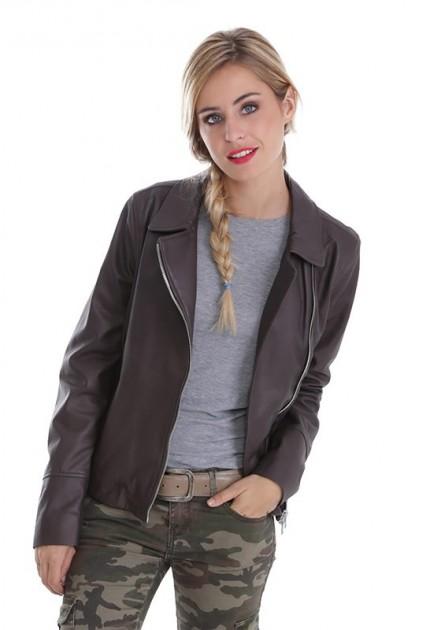 Veste cuir femme oakwood Tara gris foncé