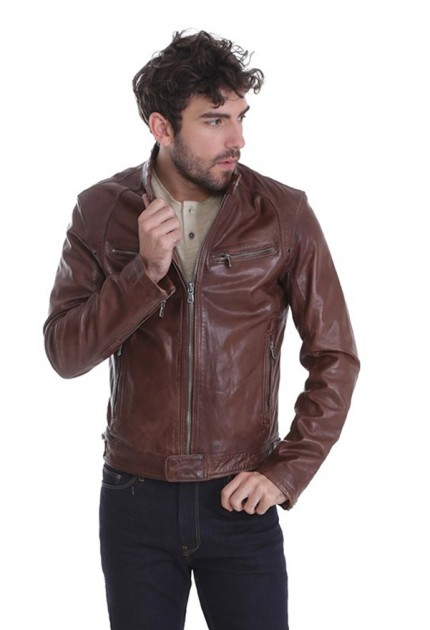 Blouson cuir homme Daytona dustin marron