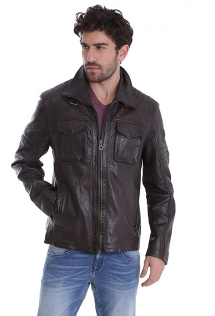 Blouson cuir homme gipsy dustin dark brown