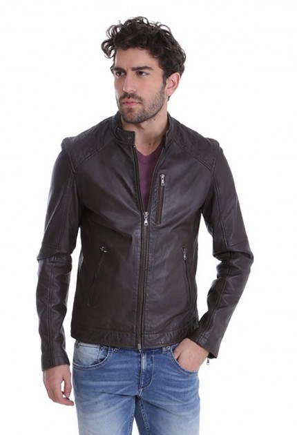 Blouson cuir homme oakwood agency marron
