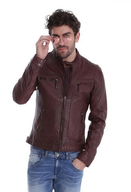 Blouson cuir homme Oakwood casey 60901 bordeaux