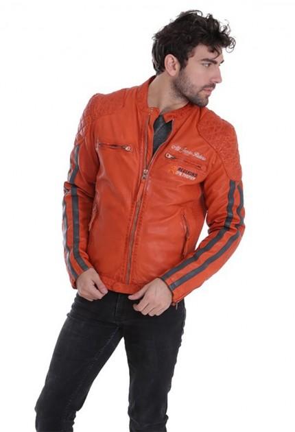 Blouson cuir homme Redskins Rossi Rocho orange