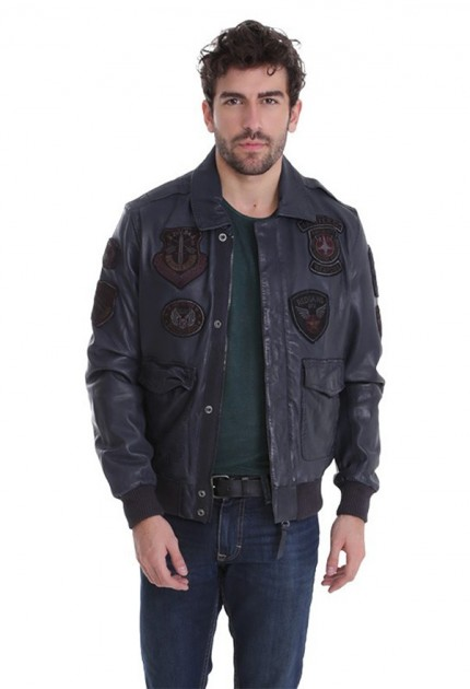 Blouson cuir homme redskins perry liverpool bleu marine