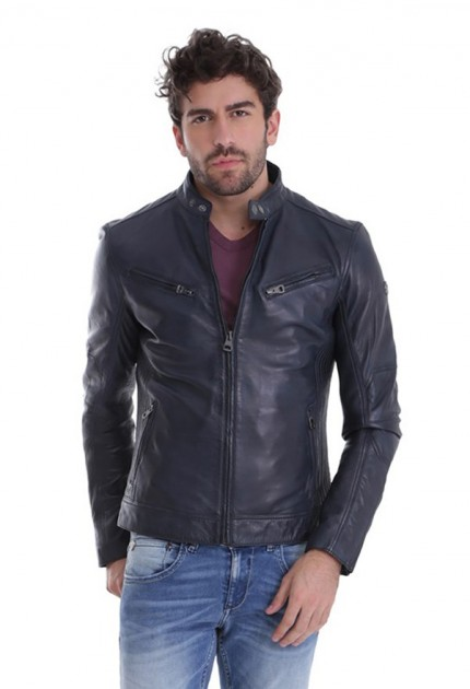 Blouson cuir homme Redskins lynch blue navy