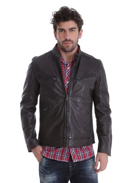 Blouson cuir homme Redskins lynch togo marron