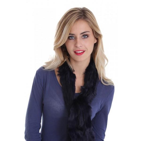 Echarpe fourrure lapin tricoté femme MonCuir bleue