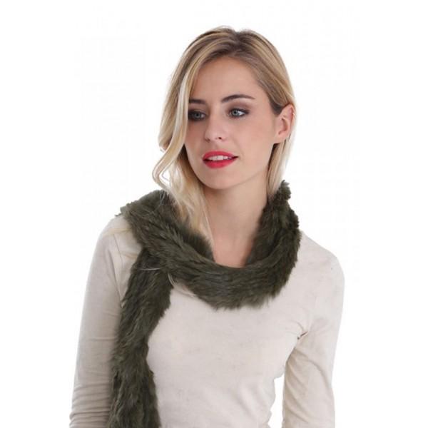 Echarpe fourrure lapin tricoté femme MonCuir kaki