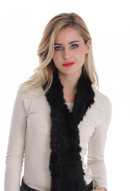 Echarpe fourrure lapin tricoté femme MonCuir noire