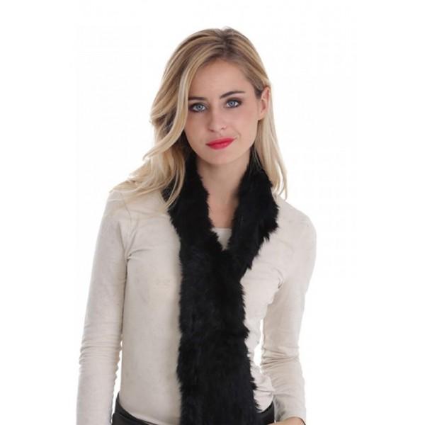 18b28b2725f echarpe fourrure lapin tricote femme moncuir noire